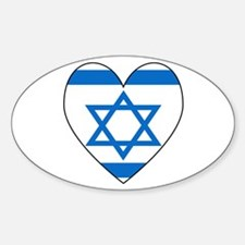 Israeli Flag Heart Oval Decal