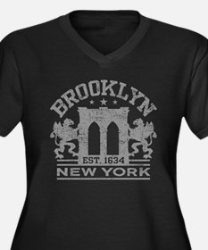Brooklyn New Women's Plus Size V-Neck Dark T-Shirt