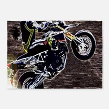 grunge cool motorcycle racer 5'x7'Area Rug