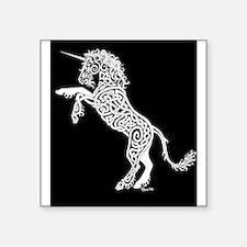 White Unicorn on Black Sticker