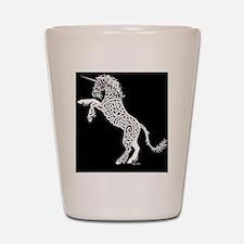 White Unicorn on Black Shot Glass