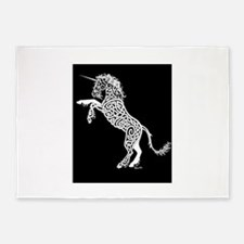 White Unicorn on Black 5'x7'Area Rug