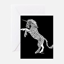 White Unicorn on Black Greeting Cards