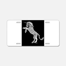 White Unicorn on Black Aluminum License Plate