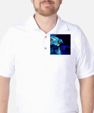 beach blue waves surfer Golf Shirt