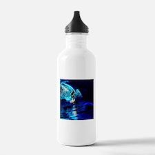 beach blue waves surfe Water Bottle