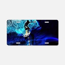 beach blue waves surfer Aluminum License Plate