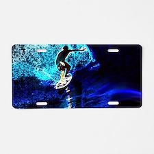 beach blue waves surfer Aluminum License Plate