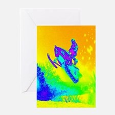 modern winter snowmobile Greeting Cards