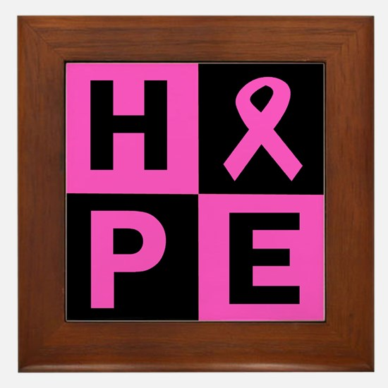 Breast Cancer Awareness hope Framed Tile