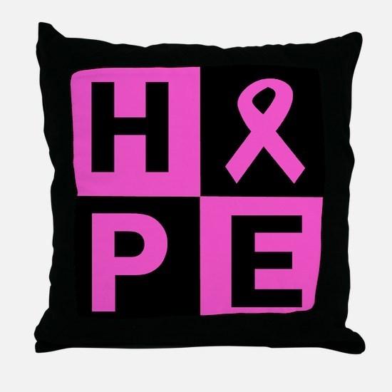Breast Cancer Awareness hope Throw Pillow