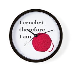 I Crochet Therefore I am Wall Clock