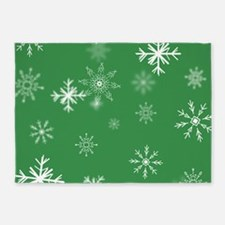Christmas Snowflakes: Green Backgro 5'x7'Area Rug