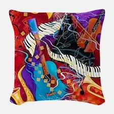 Musical Instrument Jazzy Music Woven Throw Pillow
