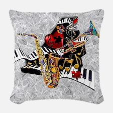 Music Decor Piano Sax Swirl Mu Woven Throw Pillow