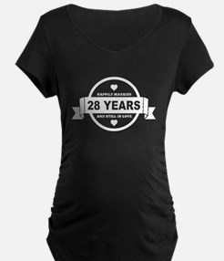 Happily Married 28 Years Maternity T-Shirt