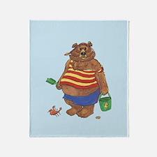 Silly Beach Bear Throw Blanket