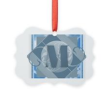 M Monogram - Letter M - Blue Ornament