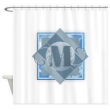 M Monogram - Letter M - Blue Shower Curtain