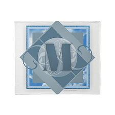 M Monogram - Letter M - Blue Throw Blanket