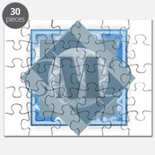 M Monogram - Letter M - Blue Puzzle