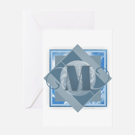 M Monogram - Letter M - Blue Greeting Cards