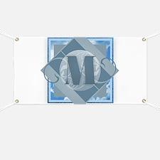 M Monogram - Letter M - Blue Banner