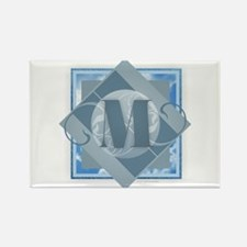 M Monogram - Letter M - Blue Magnets