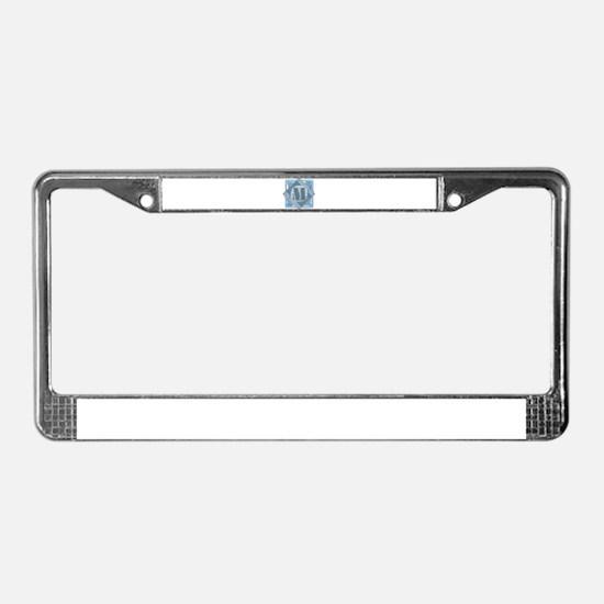 M Monogram - Letter M - Blue License Plate Frame