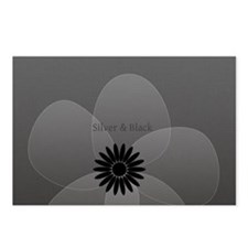 Silver Black Vintage Floral Holiday Postcards (Pac