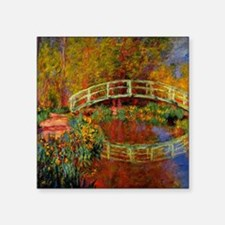 "Monet - The Japanese Bridge Square Sticker 3"" x 3"""