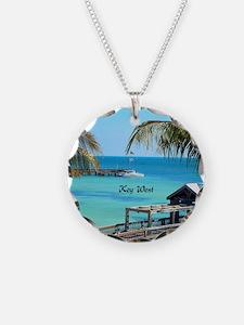 Key West, Florida - Paradise Necklace Circle Charm