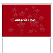 Silver Glossy Stars Pattern Gray Red Yard Sign