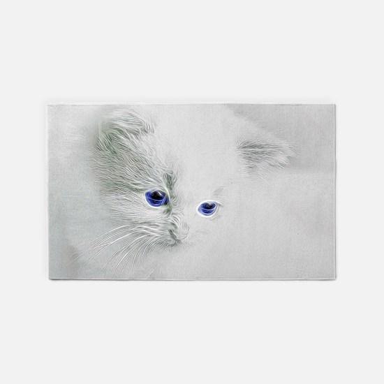 White Kitten Area Rug
