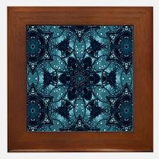 hipster mandala teal flower  Framed Tile
