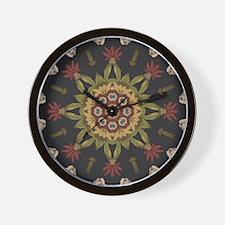 hipster vintage floral mandala Wall Clock