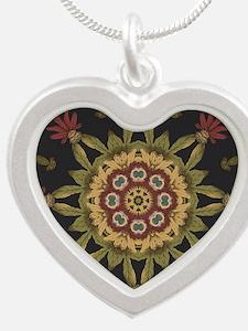 hipster vintage floral manda Silver Heart Necklace