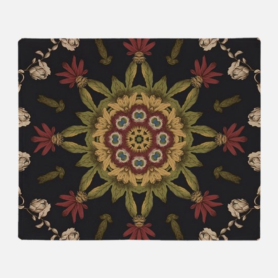 hipster vintage floral mandala Throw Blanket