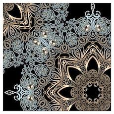 bohemian floral metallic mandala Poster