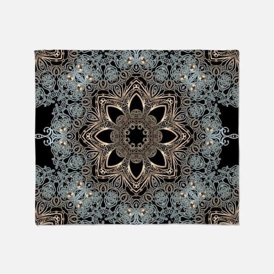 bohemian floral metallic mandala Throw Blanket
