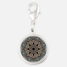 bohemian floral metallic manda Silver Round Charm