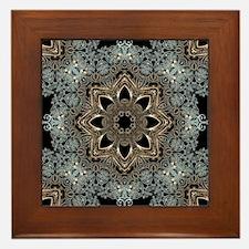 bohemian floral metallic mandala Framed Tile