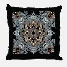 bohemian floral metallic mandala Throw Pillow