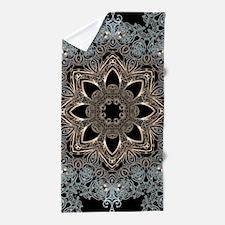 bohemian floral mandala hipster Beach Towel