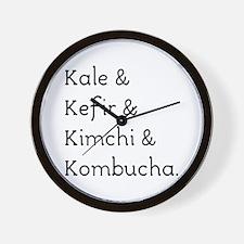 Kale Kefir Kimchi And Kombucha Wall Clock