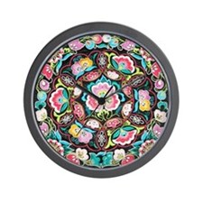 vibrant colorful flowers bohemian Wall Clock