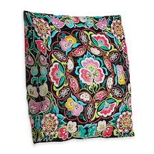 vibrant colorful flowers bohem Burlap Throw Pillow