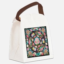 vibrant colorful flowers bohemian Canvas Lunch Bag