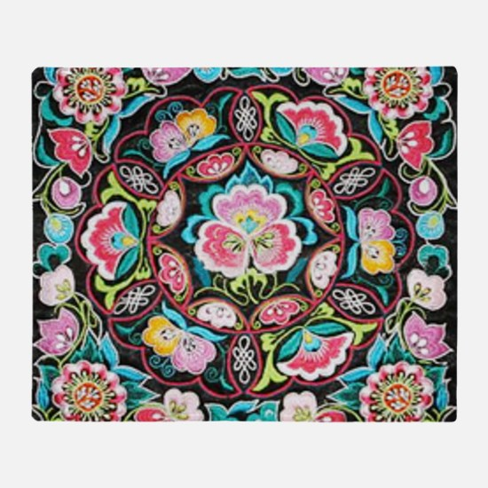 vibrant colorful flowers bohemian Throw Blanket