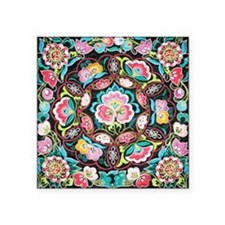"vibrant colorful flowers bo Square Sticker 3"" x 3"""